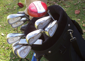 Golf bag with equipment