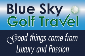 Blue Sky Golf Travel logo met payoff