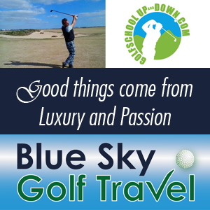 Blue Sky Golf Travel logo met payoff en golfschool
